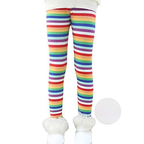 Reciy Mädchen Winter Dicke Warme Lange Hosen Druck Fleece Gefüttert Leggings Rainbow 150