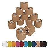 BB Sport 12 rollos Kinesiologia tape 5 m x 5,0 cm cinta kinesiologica en diferentes colores, Color:de color carne