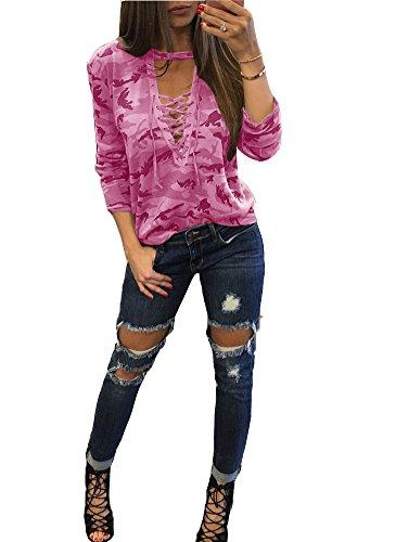 Pattrily Frauen Sexy Bluse Shirts Aushöhlen Tops Dünn Langarm Camouflage Übergroßen Damen Tief V Plus Größe Krawatte Farbe S-XXL Rosa