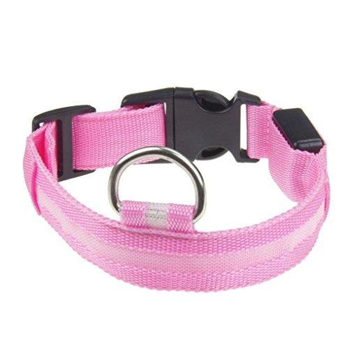 Providethebest Lindo Pantera Nylon Spots Collar de Perro Luminoso LED Parpadeante Suministros Mascota perdida Anti-Resplandor de Mascota Collares luz de la nocherosadoS