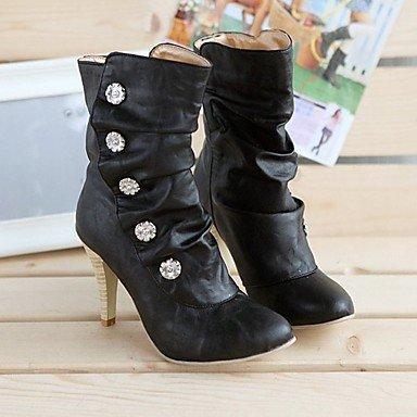 Femmes Bottes Mode Bottes D'hiver Pu Mode Casual Bottes Talon Stiletto Gris Noir Blanc 2a-2 3 / 4in Blanc