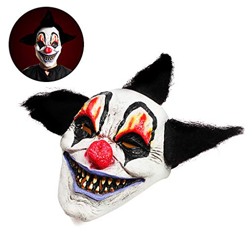 OWUDE Maschera da Clown spaventoso, Horror Creepy Latex Clown Maschere per Adulti Haunted House Dressing Halloween Costume Masquerade Party Puntelli Cosplay (Wizard Clown)