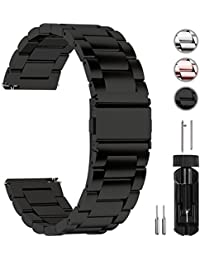 Fullmosa Stainless Steel Watch Bracelet 22 mm, 16 mm, 18 mm, 20 mm, 22 mm Metal Watch Band Strap with Quick Release suitable for men and women, 20mm, Black