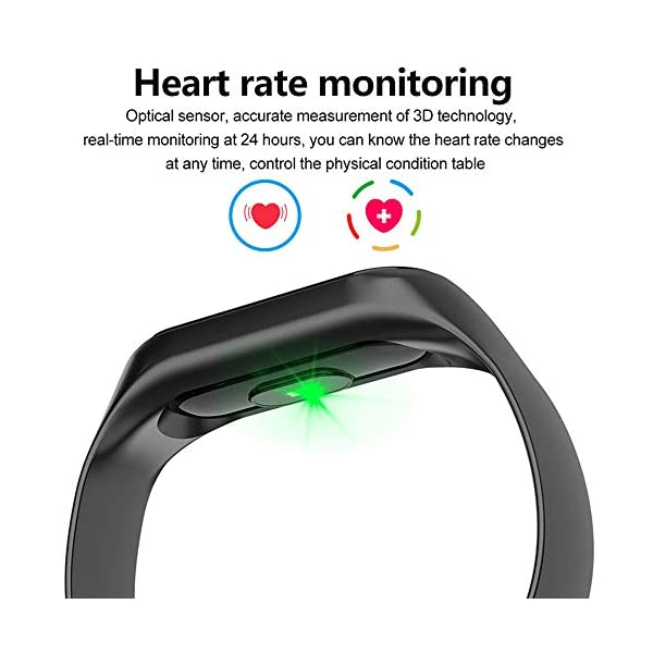 BATHRINS Pulsera Inteligente de Seguimiento de Fitness, M3 IPS, Pantalla Impermeable IP68 Pulsera de Actividad con Monitor de presión Arterial de precisión HR para Android iOS 3
