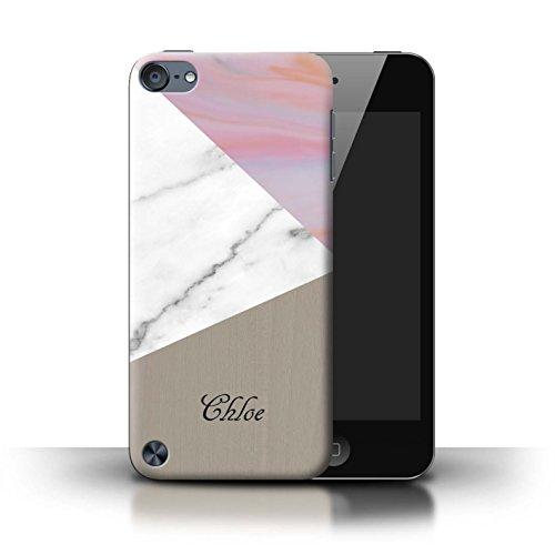 Personalisiert Individuell Holz/Marmor Hülle für Apple iPhone 5/5S / Rosa Dunkles Hölzern Design / Initiale/Name/Text Schutzhülle/Case/Etui Rosa/Gold