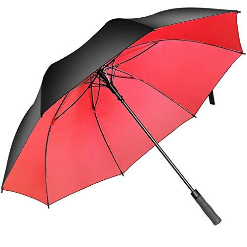 BISONS Superbison Open Golf Umbrella Extra Extra Large - Paraguas Impermeables extragrandes de Gran tamaño (Circunferencia 155cm / diámetro 132cm, Negro/Rojo)