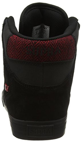 Supra Vaider, Baskets Basses Homme Noir (Black/Red Herringbone Blk)