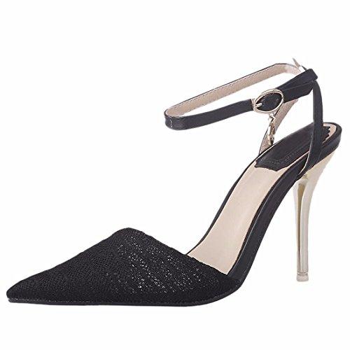 Novas Mulheres Dedo Do Pé Apontado Sapatos De Salto Alto Fivela De Metal Stiletto Sandálias Sapatos Pretos