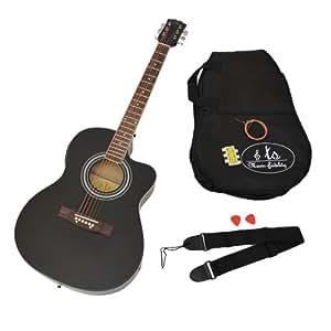 ts-ideen Guitare folk électro-acoustique 4/4 avec égaliseur 4 bandes et étui avec accessoires