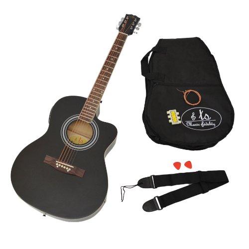 4/4 Elektro Akustik Gitarre Westerngitarre in schwarz mit 4 Band Pickup EQ Tonabnehmer + Tasche mit Zubehör