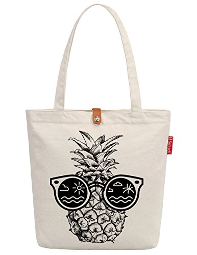 So'each Women's Sunglasses Pineapple Graphic Top Handle Canvas Tote Shopping Bag