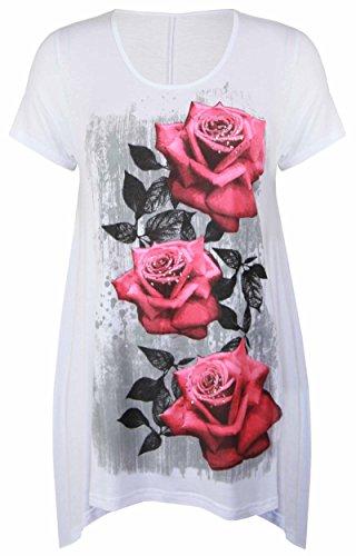 Purple Hanger - Tunique Femme Ourlet Inégal Manche Courte Imprimé Floral Rose Jersey Grande Taille Neuf Weiß