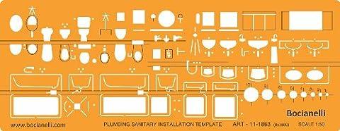 1:50 Sanitär Sanitäre Installation Architekt Schablone Sanitärtechnik Zeichenschablone Möblierung -