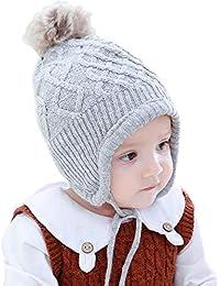 AHAHA Sombrero de Orejera de Bebé de Invierno Sombreros de Punto Pompom