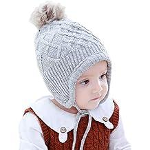 AHAHA Sombrero de Orejera de Bebé de Invierno Sombreros de Punto Pompom 7a1b4236c88