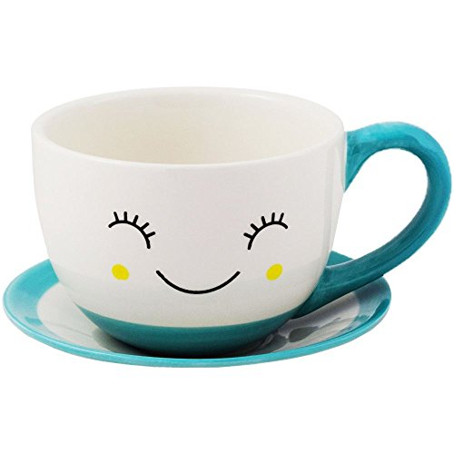 Ivyline Sow The Seed of Happiness Tom Indoor Teacup & Saucer Plant Pot Planter Blue