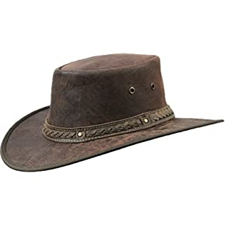 Barmah 1078 Red Rock Kangaroo Känguru Squashy Outback Leather Hat Braun