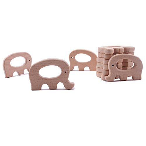 baby tete 10Pcs Bio Baby Teether Holz Teether Elefant Natürliche Zahnen Greifen Spielzeug Baby Dusche Geschenk Kleinkind Teether Neugeborenen Baby Geschenk