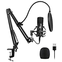 USB Microphone Kit 192KHZ/24BIT Plug & Play MAONO AU-A04 Plus USB Computer Cardioid Mic Podcast Condenser Microphone with Professional Sound Chipset for PC Karaoke, YouTube, Gaming Recording