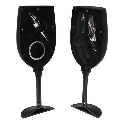 MM456 Weinöffner Zubehör-Set - 4 Stück Deluxe Weinflasche Korkenzieher Schraubenzieher Kit Tolles Einweihungsgeschenk für Weinliebhaber Einheitsgröße Schwarz