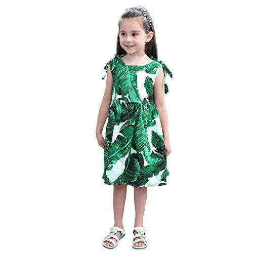 HUIHUI Blatt drucken Ärmellos Prinzessin Kleid Mädchen Billig Sommer Party Petticoat Kleid Crazysales, 1-6 Jahr (130 (4-5Jahr), Grün) (Sales Crazy)