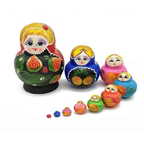 Kostüm Puppe Matroschka - JJSFJH 10 Stück russische Puppe Nesting eine Stoßstange Ernteszene Matroschka Holz Bunte Puppen Spielzeug