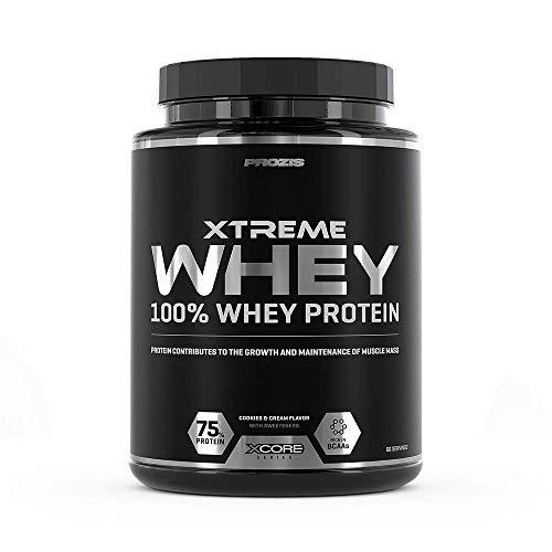 Prozis Xtreme Whey Protein SS Aumenta el Crecimiento y el Mantenimiento de la Masa Muscular, Suplemento Vegetariano con BCAA, Glutamina y Vitaminas, Galletas y Crema - 2000 g