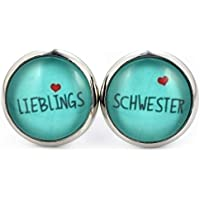 SCHMUCKZUCKER Damen Ohrstecker Spruch Lieblingsschwester Modeschmuck Ohrringe silber-farben türkis 14mm