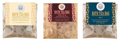 Pack of 3 Winter Collection Bath Tea Bags Dark Fig Prosecco and Mr T
