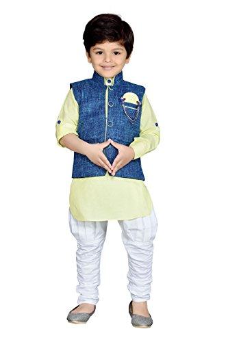 AJ Dezines Kids Kurta Pyjama Waistcoat Set for Boys (635_LEMON_14) (635_LEMON_14)