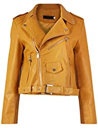 Diana Femmes Nouvelles Faux Cuir Or ou Metal Button Zip Crop Ladies Biker Veste Manteau
