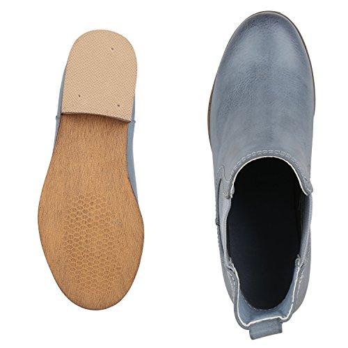 napoli-fashion Damen Stiefeletten Flache Chelsea Boots Leder-Optik Schuhe Gr. 36-41 Jennika Hellblau