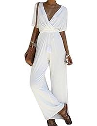 7be8d5468347 Dihope Femme Combinaison V Cou Jumpsuit 1 2 Manches Romper Casual Bodysuit  Overall Playsuit de