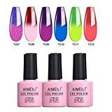 AIMEILI Smalto Semipermente per Unghie in Gel UV LED Kit per Manicure Smalti Gel per Unghie Colorati Set 6 x 10 ml - Set Numero 15