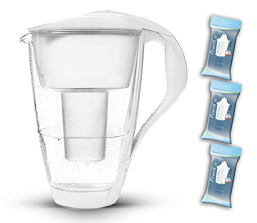PearlCo Glas-Wasserfilter (weiß) Starter-Paket inkl. 3 classic Filterkartuschen (kompatibel mit Brita Classic)