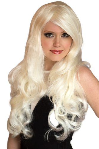 Platinum Blonde Wig With A Side Party and Big Loose Curls, Extra Long: Dolly 250g by Annabelles Wigs