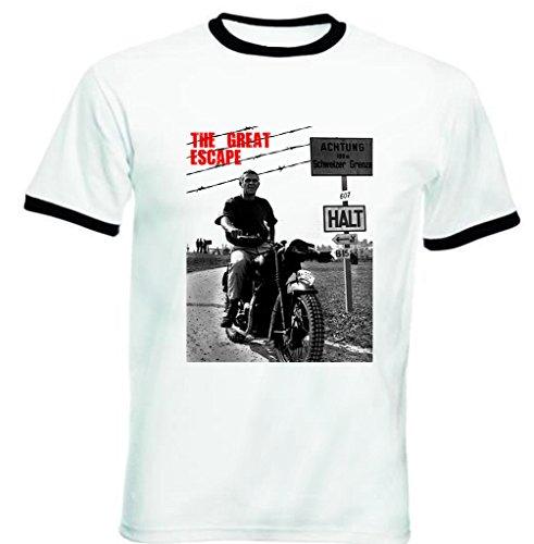 teesquare1st Men's Steve McQueen The Great Escape Ttshirt da Uomo con Bordi Neri Size Large