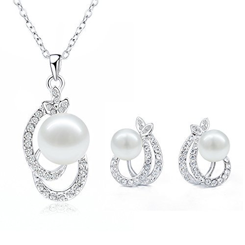 9d95f5bc962d Joyas pendientes y collar conjunto – morenitor (TM) Pearl colgante collar  Dangle Pendientes boda joyería Sets regalo de Navidad