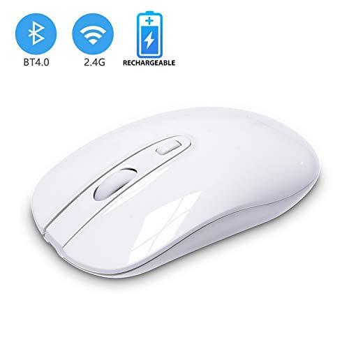 Cimetech Bluetooth Maus Wiederaufladbare Dual-Modus 2.4G Funkmaus + Bluetooth 4.0 Funkmaus mit 2400 DPI & USB Nano Empfänger Für PC Laptop Microsoft Pro, Office Home (Bluetoot+2.4G-Weiß)