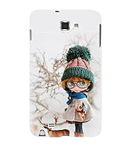 Takkloo Baby doll ( cute doll, brown hair doll, beautiful eyed doll, doll wearing cap, doll with here) Printed Designer Back Case Cover for Samsung Galaxy Note 2 :: Samsung Galaxy Note Ii N7100