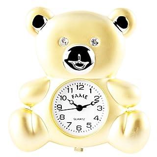 Fame Analog Miniaturuhr Tischuhr Standuhr mit Quarzwerk und Motiv Teddybär 300412000133 Bicolor Gehäuse 4,7 cm