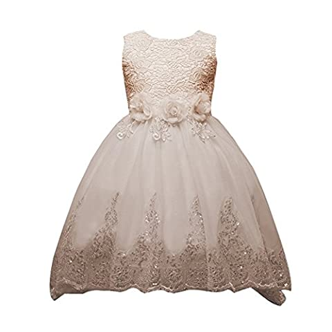 Highdas Mädchen Kleid Pinzessin Blumen-Mädchen Kinder Kleid Hochzeit Festkleid Kommunionkleid 11-12 Jahre / (Elf Kostüm Uk)