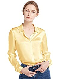ae8543073e099 LILYSILK Women s Charmeuse Silk Blouse Long Sleeve Ladies Top Shirt 100%  Pure 22 Momme Grade