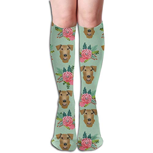 Women's Fancy Design Stocking Airedale Terrier Floral Cute Dog Mint Multi Colorful Patterned Knee High Socks 19.6Inchs