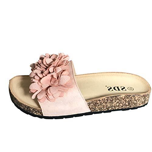 letten Slipper Blumen Sandaletten Glitzer Komfort PG70 (39 EU, ST785 Rosa) ()