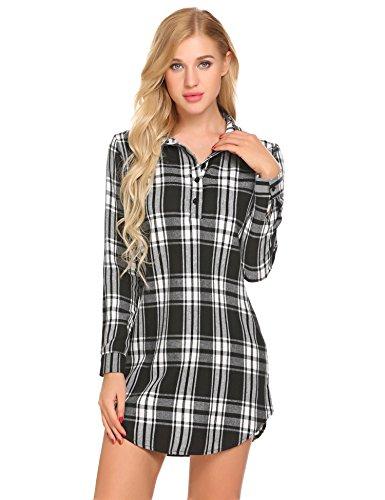 Damen Hemd Karierte Bluse Nachthemd Knopfleiste Nachtwäsche Baumwolle Nachthemden Sommer Sleepshirt Kurz Sleepwear für Damen, Schwarz/Weiß 1, Gr. XL-46