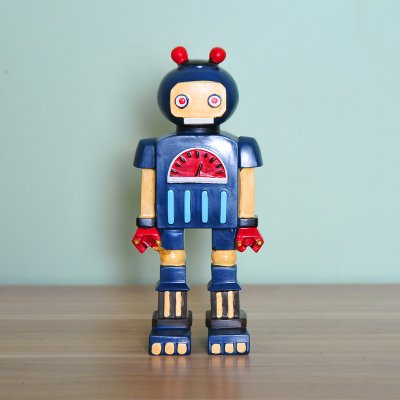 SQBJ American retro Robotermodell Dekoration Wohnungseinrichtung Kinder bar Eingang Zimmer Dekoration Geschenk kreative Bücherregal, B Geld blau (American Bücherregal)