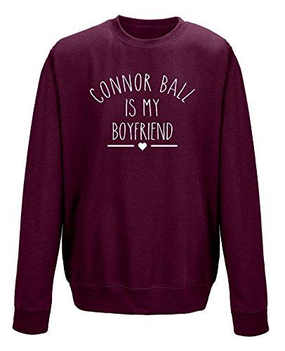 """Pullover mit Aufschrift """"Connor Ball Is My Boyfriend"""" (Aufdruck in englischer Sprache) Schwarz - Maroon"""