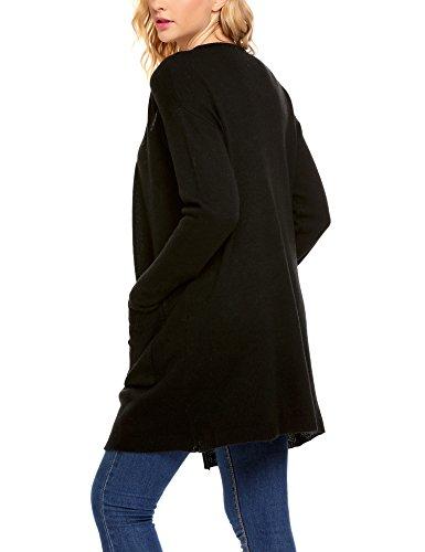 Zeagoo Damen Strickjacke Langarm Cardigan Basic Taschen mit offenem V-Ausschnitt Schwarz