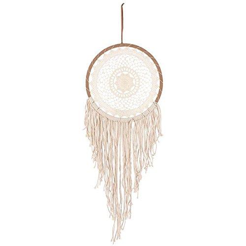 Atrapasueños circular con 32 cm ganchillo y flecos color beige-Dreamcatcher